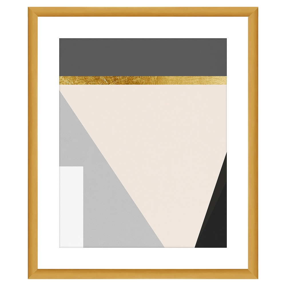 Bring a bold touch of style to your living space with this Gold Lining Wall Art from PTM Images. Showcasing a modern geometric print in shades of gray, black, white and cream, this digital wall art comes with a gold lining accent and a gold frame that add a bit of glam to any plain wall. Whether hung on its own for a bold look or used as part of a series on a gallery wall, you\\\'ll love the artistic style and subtle elegance this framed wall art brings to your modern-styled decor.