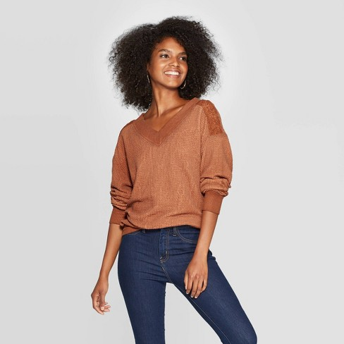 Women's Long Sleeve V- Neck Ribbed Pullover Blouse - Knox Rose™ Orange - image 1 of 2