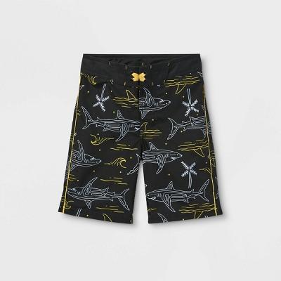 Boys' Shark Wave Palm Print Swim Trunks - art class™ Black