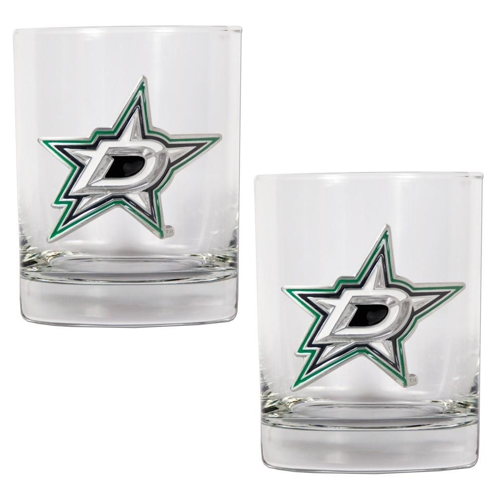 NHL Dallas Stars 2pk Metal Emblem Rocks Glass Set