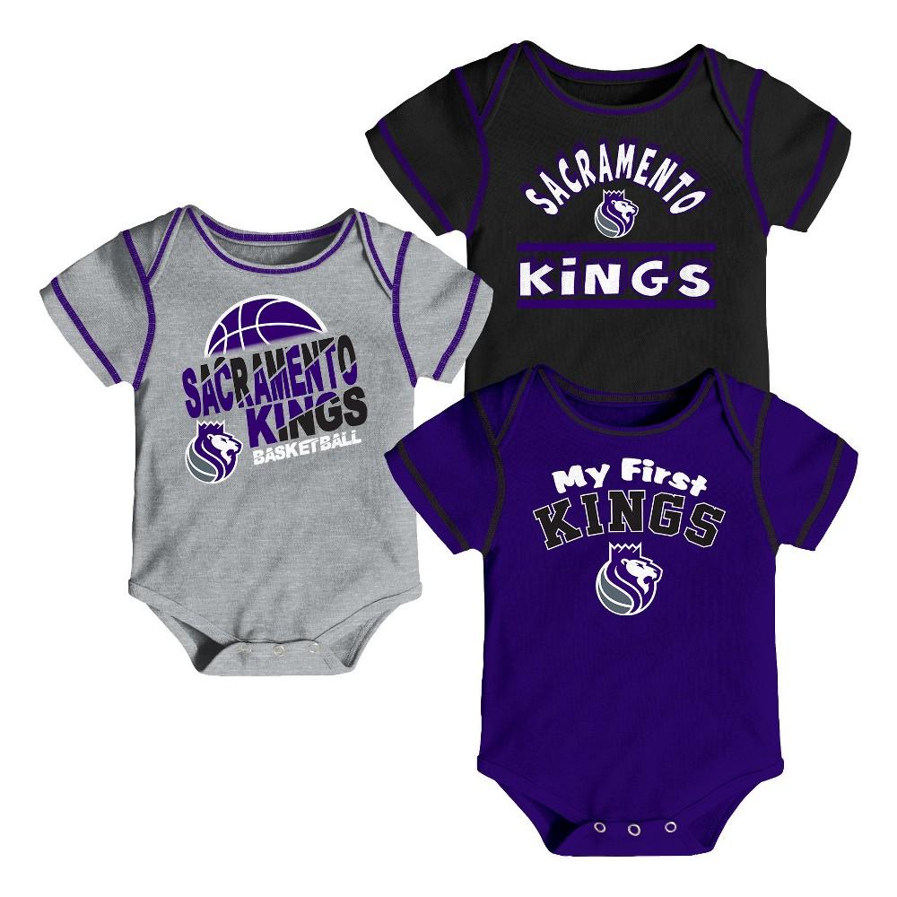 Sacramento Kings Boys' Rookie 3pk Body Suit Set 0-3M, Multicolored