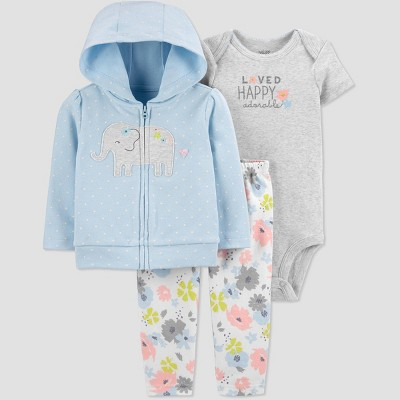 Baby Girls' Elephant Top & Bottom Set - Just One You® made by carter's Light Blue 9M