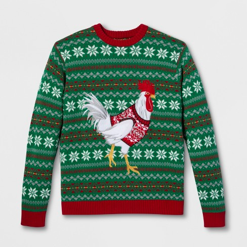 33 Degrees Mens Ugly Christmas Chicken Long Sleeve Pullover Sweater