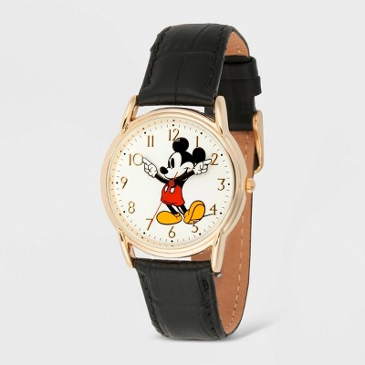 Men's Disney Mickey Mouse Cardiff Leather Strap Watch - Black
