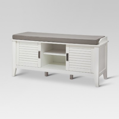 Storage Bench with Slatted Doors - White - Threshold™
