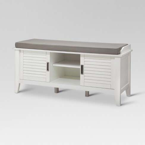 Storage Bench with Slatted Doors Wood - Threshold™ - image 1 of 5