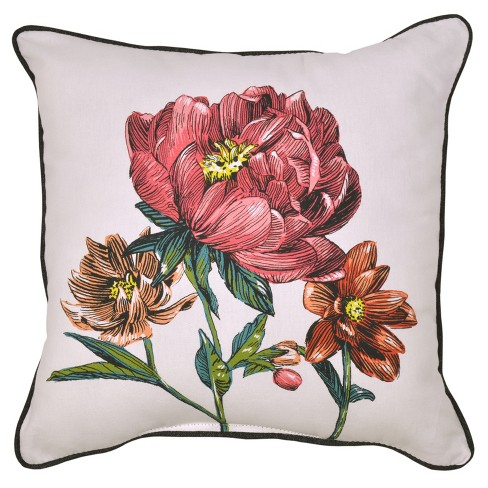 Outdoor Throw Pillow Square - Peony - Threshold™ - image 1 of 2