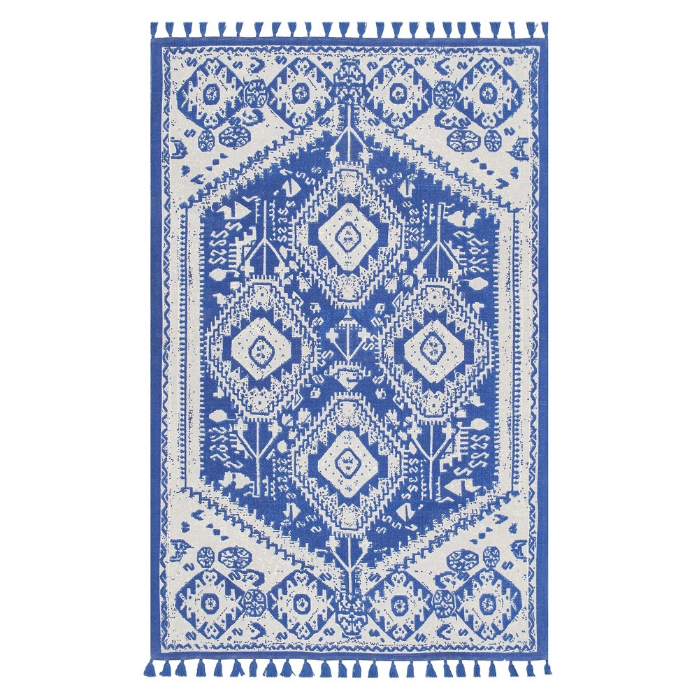 Blue Solid Woven Runner - (2'6x12') - nuLOOM, Beige