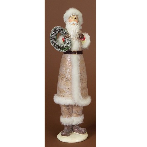"""Northlight 17"""" White and Green Modern Lodge Birch Santa Claus Christmas Figure with Wreath - image 1 of 1"""