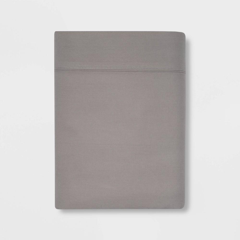Full 300 Thread Count Ultra Soft Flat Sheet Gray Threshold 8482