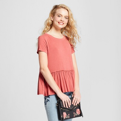 d0a96c9a874 Womens Short Sleeve Peplum T-Shirt – Mossimo Supply Co.™ Coral S ...