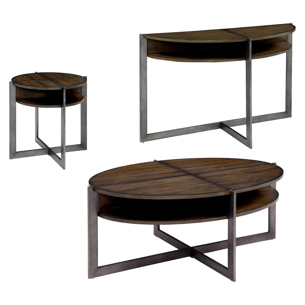 Sun & Pine Occasional Table Set Dark Brown