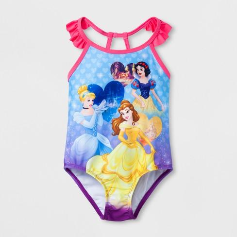 8e1e912918 Toddler Girls' Disney Princess One Piece Swimsuit - Blue 4T : Target
