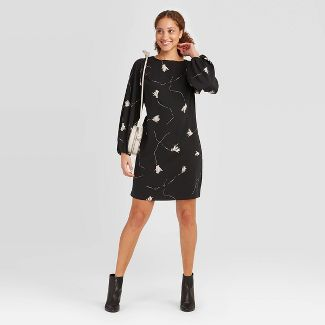 Women's Floral Print Long Sleeve Dress - A New Day™ Black S