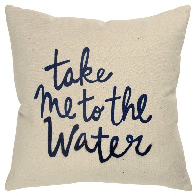 'Take Me To The Water' Poly Filled Pillow Cream/Navy - Rizzy Home