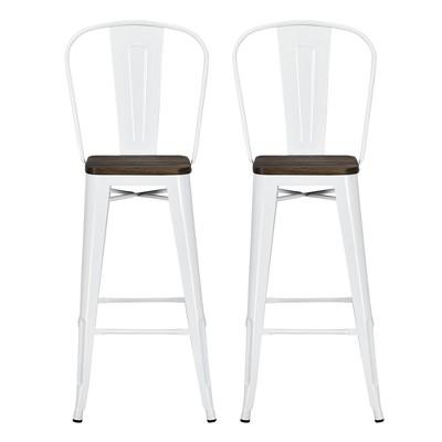 "Set of 2 30"" Lio Metal Barstools with Wood Seat - Room & Joy"