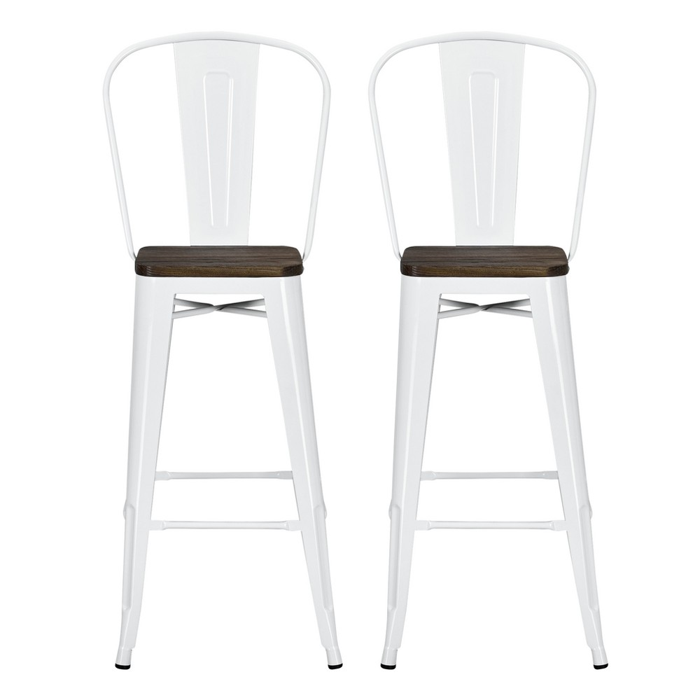 30 Luxor Metal Bar Stool with Wood Seat 2pc - White - Dorel Home Products
