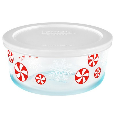 Pyrex 4cup Glass Peppermints Food Storage Container White