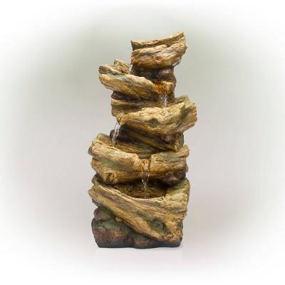 4 Tier Tree Trunk Log Fountain Brown/Gray - Alpine Corporation