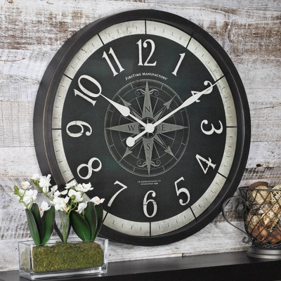 "24"" Compass Rose Wall Clock Oil Rubbed Bronze - FirsTime & Co."
