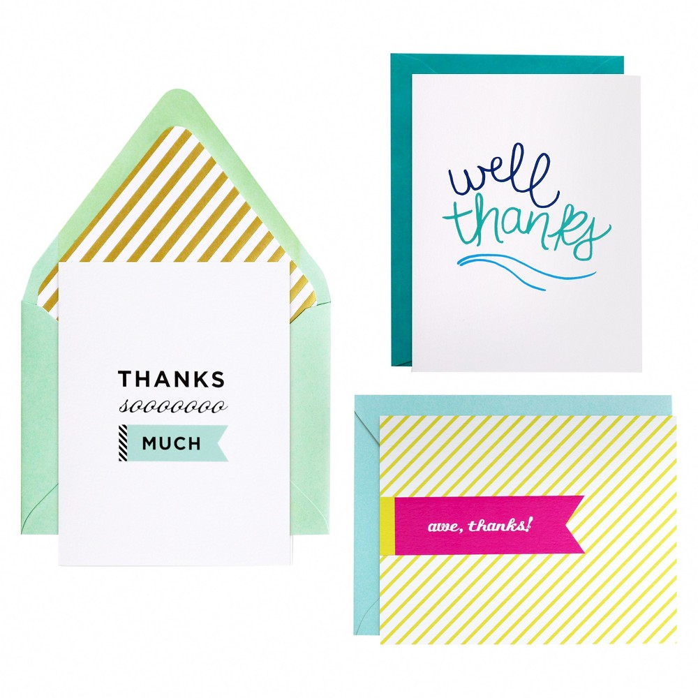 meant to be sent Thanks Notecards 3 ct, Multi-Colored