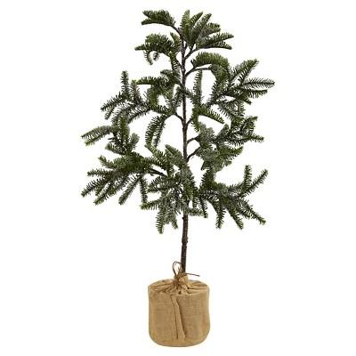 "Iced Pine Tree with Burlap Base - (3"")"