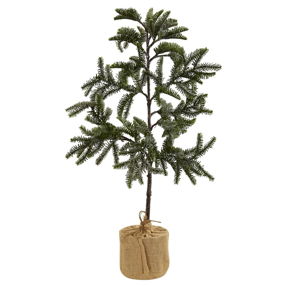 Iced Pine Tree with Burlap Base - Green (3)
