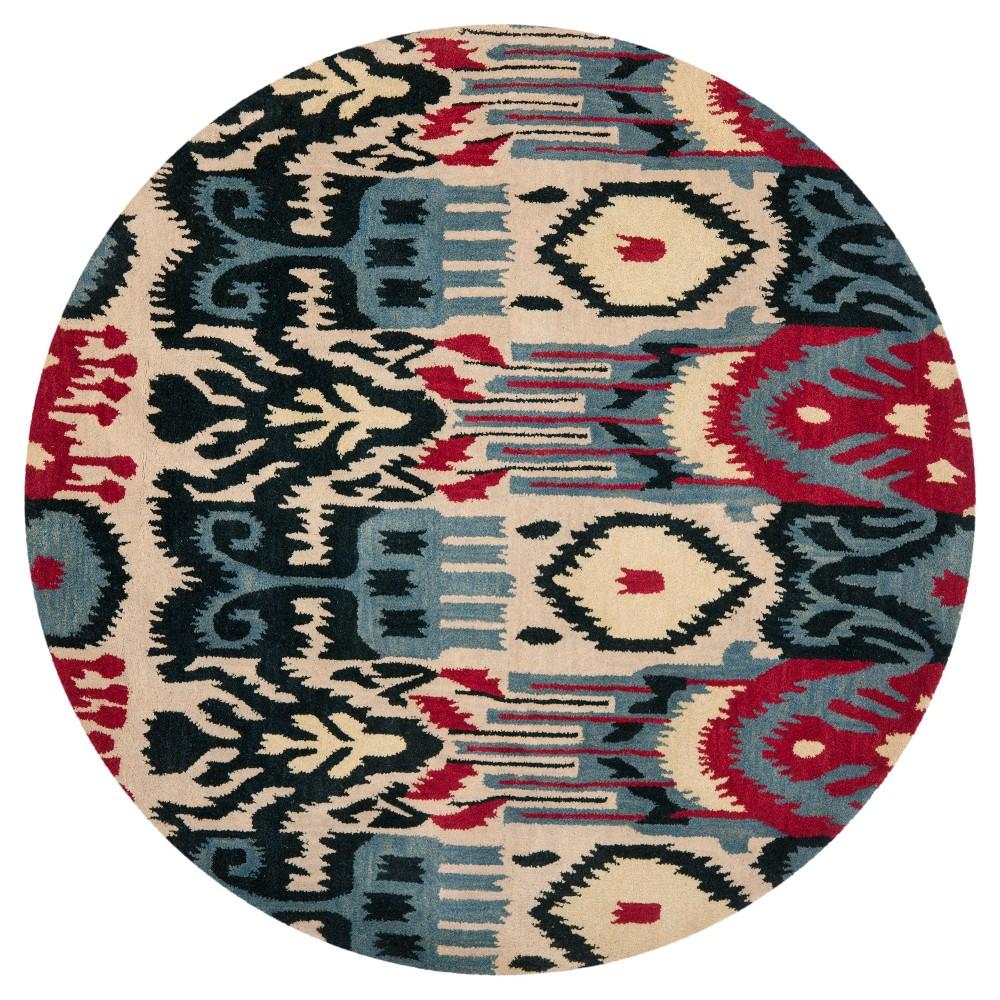 Beige/Blue Ikat Design Tufted Round Area Rug 6' - Safavieh