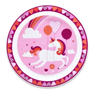 Cheeky Plastic Kids Plate 8.3  Unicorn - Pink