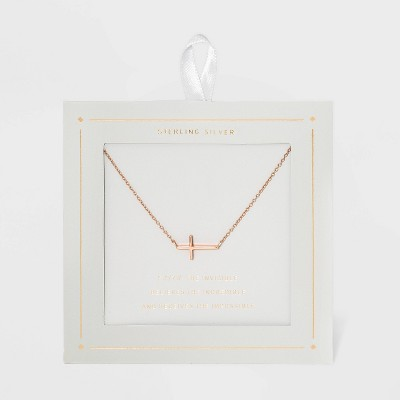 Sterling Silver Horizontal Cross Station Necklace - Rose Gold