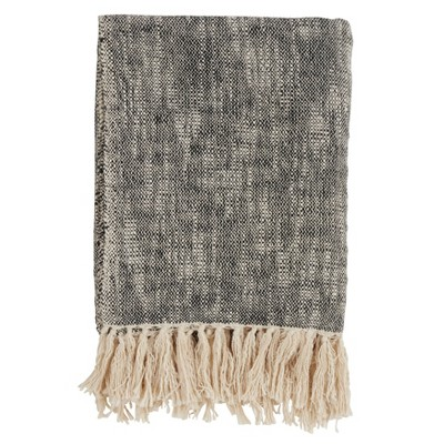 50 x60  Solid Tasseled Throw Blanket Black - Saro Lifestyle