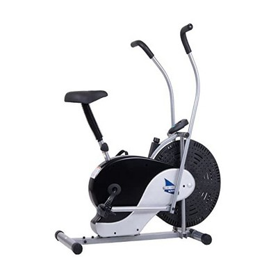 Body Flex Sports Body Rider BRF700 Stationary Full Body Cardio Exercise Upright Fan Bike with Dual Action Handlebars and Adjustable Seat