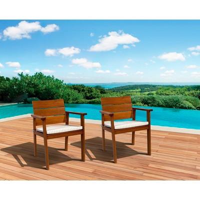 Saint Paul 2-Piece Wood Patio Dining Chair Set