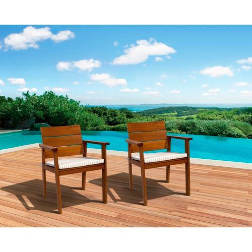 Saint Paul 2 Piece Wood Patio Dining Chair Set