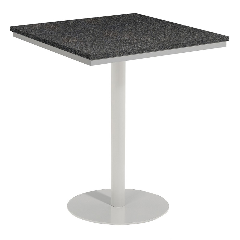 Travira 36 Square Patio Bar Table - Powder Coated Steel Frame - Lite-Core Granite Charcoal Top - Oxford Garden, Charcoal Tabletop