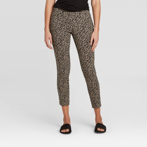 Women's Animal Print High-Rise Skinny Ankle Length Pants - A New Day™ Brown - image 1 of 3