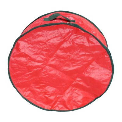 """Northlight 24"""" Red and Green Christmas Wreath Round Storage Bag"""