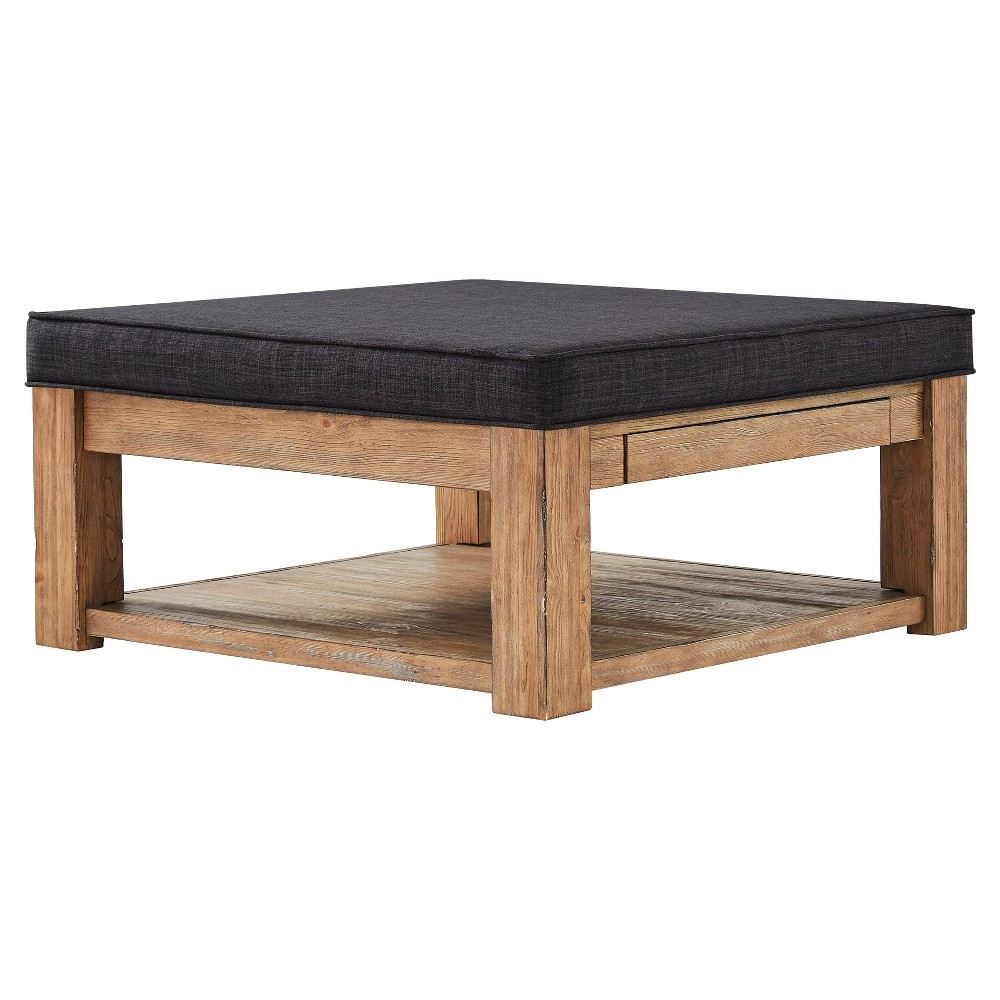 Southgate Natural Cocktail Ottoman Charcoal (Grey) - Inspire Q