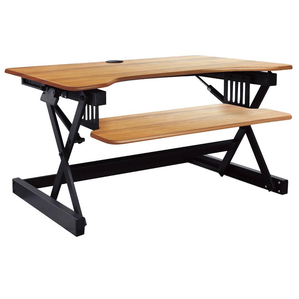 40 34 Height Adjustable Sit To Standing Desk Riser Black Teak Wood Grain Rocelco
