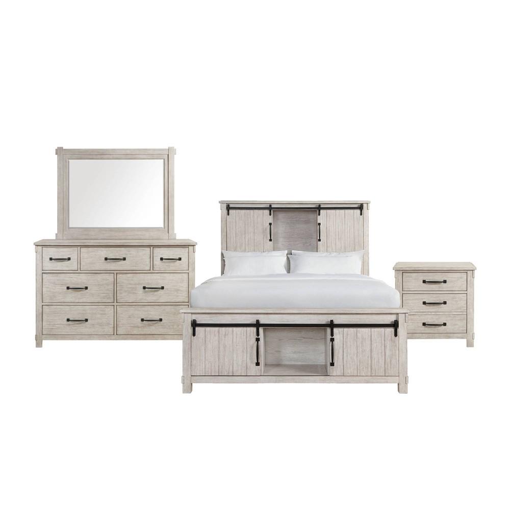 Image of 3pc King Jack Platform Storage Bedroom Set White - Picket House Furnishings