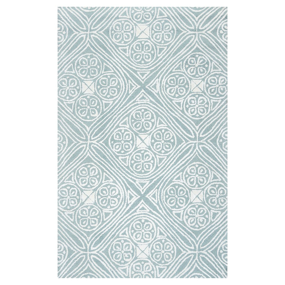 Rizzy Home Eden Harbor Collection Hand-Tufted Wool/Viscose Rug - Blue/White (3' x 5')