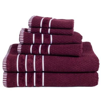 6pc 100% Combed Cotton Bath Towel Set Burgundy - Hastings Home