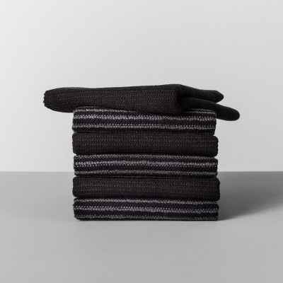 6pk Striped Dishcloth Black - Made By Design™