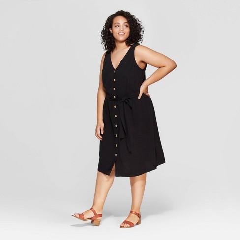 Women\'s Plus Size Sleeveless V-Neck Button Front Dress - Universal Thread™  Black 1X