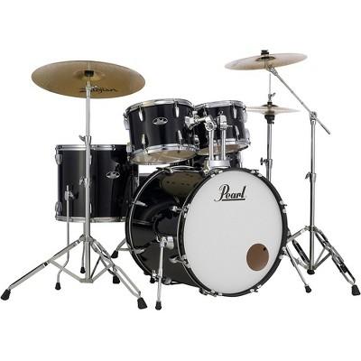 Pearl Roadshow 5-Piece Drum Set with Hardware and Zildjian Planet Z Cymbals Jet Black