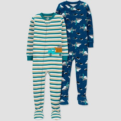 Baby Boys' Shark Construction Footed Pajama - Just One You® made by carter's Blue 12M