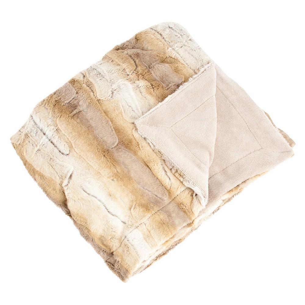 """Image of """"50""""""""x60"""""""" Animal Print Design Soft Plush Faux Fur Throw Blanket Natural - SARO"""""""
