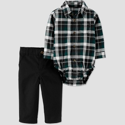 Baby Boys' 2pc Plaid Top & Bottom Set - Just One You® made by carter's Black/Green Newborn