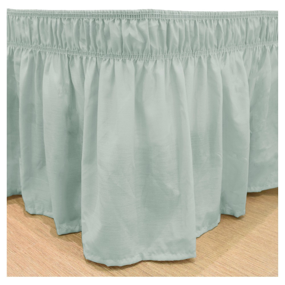 "Image of ""Wrap Around Solid Ruffled Bed Skirt (Queen/King) (80"""" X 60"""") -SeaFoam EasyFit"""