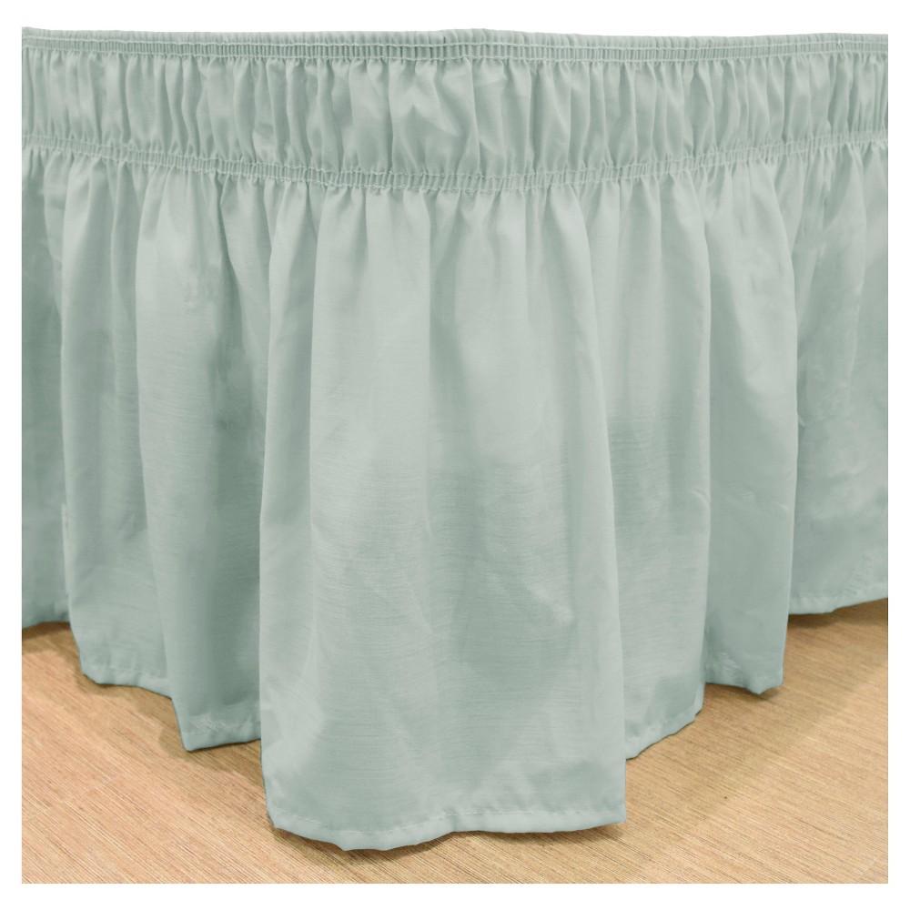 Wrap Around Solid Ruffled Bed Skirt (Twin/Full) (75X39) SeaFoam -EasyFit